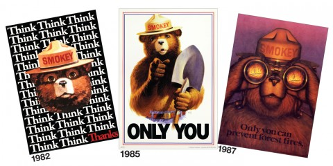 Smokey Bear posters from the 1980s