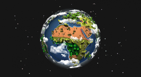 "A screenshot from the mobile game ""Zoo Guardians"" showing a digital representation of Earth from space with land masses, oceans and clouds."