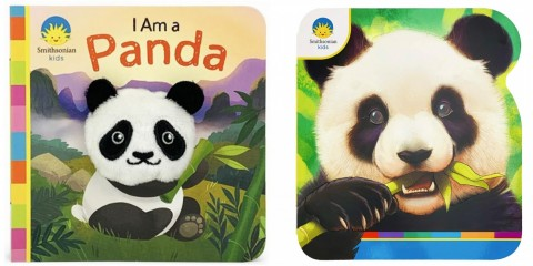 """Two board books about giant pandas. The book on the left is called """"I Am a Panda"""" and features a cartoon panda holding bamboo. The book on the right features an illustration of a giant panda eating bamboo."""