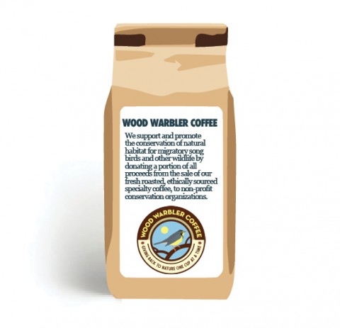 Mockup of a bag of Bird Friendly certified coffee from Wood Warbler coffee