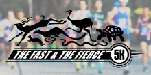 The fast and the fierce animal artwork logo superimposed on background photo of runners