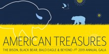 "A graphic depiction of a bison and a bear with the text ""Annual Gala: American Treasures: Bison, Black bear, Bald Eagle and beyond"""