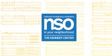 A graphic with various sheet music and the national symphony orchestra in your neighborhood kennedy center lgoo