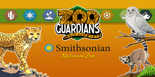 "Digital illustrations of a cheetah, snowy owl and lemur surround the Zoo Guardians mobile game logo and the Smithsonian logo with ""National Zoo"" written below it. A line of icons in the background with plants, snowflakes, etc. represent different biomes."