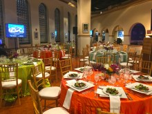 Round tables decorated for a private, catered event in the Amazonia science gallery at the Smithsonian's National Zoo