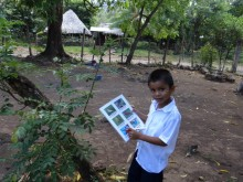 A student participates in a scavenger hunt.