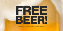glass of beer with the words free beer! in exchange for helping to save species