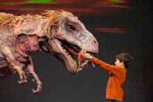 Child feeding a life-sized T. Rex on stage.