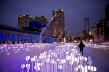 Entre Les Rangs / City field, a creation by Kanva Architecture, Quartier des Spectacles, Montreal.