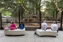 Guests seated on couches outside the Great Cats exhibit during a private catered event at the Smithsonian's National Zoo