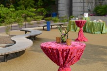 Cocktail tables decorated in brightly colored table cloths outside the Zoo's Elephant Community Center