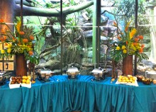 A food table decorated with table cloths and flowers set up in front of an exhibit in the Small Mammal House at the Smithsonian's National Zoo