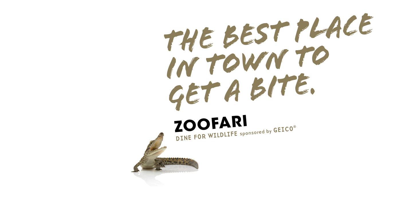 "Text on a white background: ""The best place in town to get a bite. Zoofari. Sponsored by Geico"" and a crocodile"