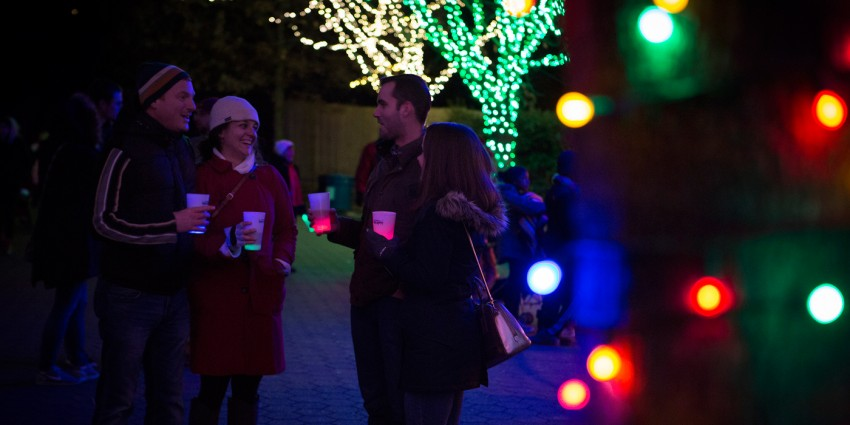 guests holding light-up tumblers at BrewLights