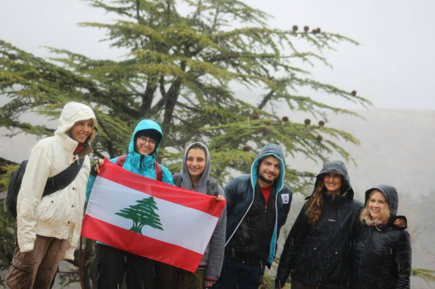 McInerney and Parker visit Horsh Ehden Nature Reserve on Lebanese Independence Day to collect scat samples with Magda and her st
