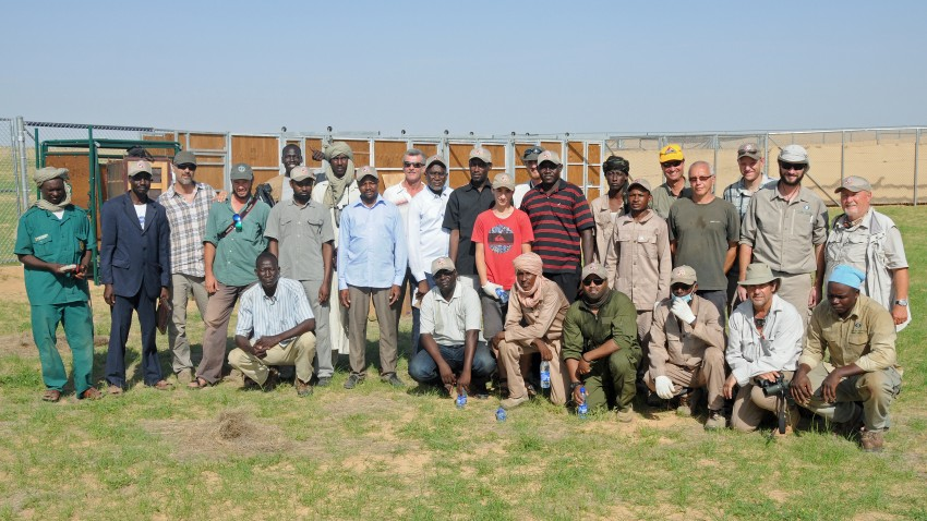 the oryx collaring team posing for a photo