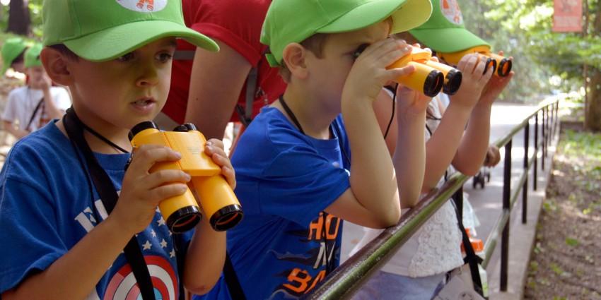 children using binoculars and looking at an exhibit