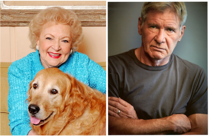 A photo of Betty White, left, and Harrison Ford, right. Betty white is holding a large dog.