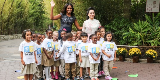 Michelle Obama and the First Lady of China with children at Bei Bei's naming