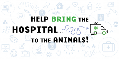 """Help Bring the Hospital ... to the Animals!"" with an illustration of an ambulance. In the background of other illustrations of hospital-related items, like X-rays, medical bags, microscopes, germs, doctors, band-aids and more."