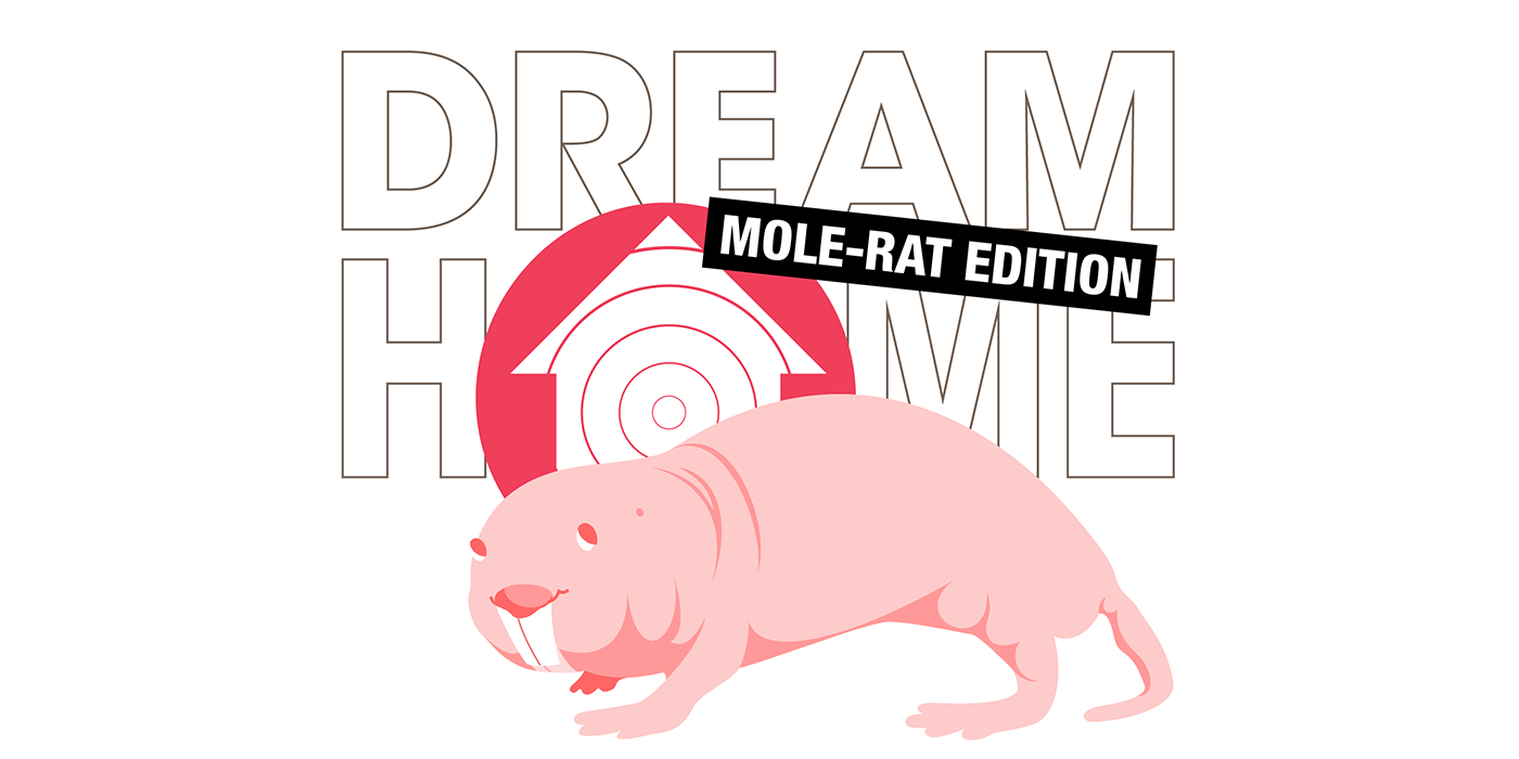 artwork with naked mole rat illustration and text